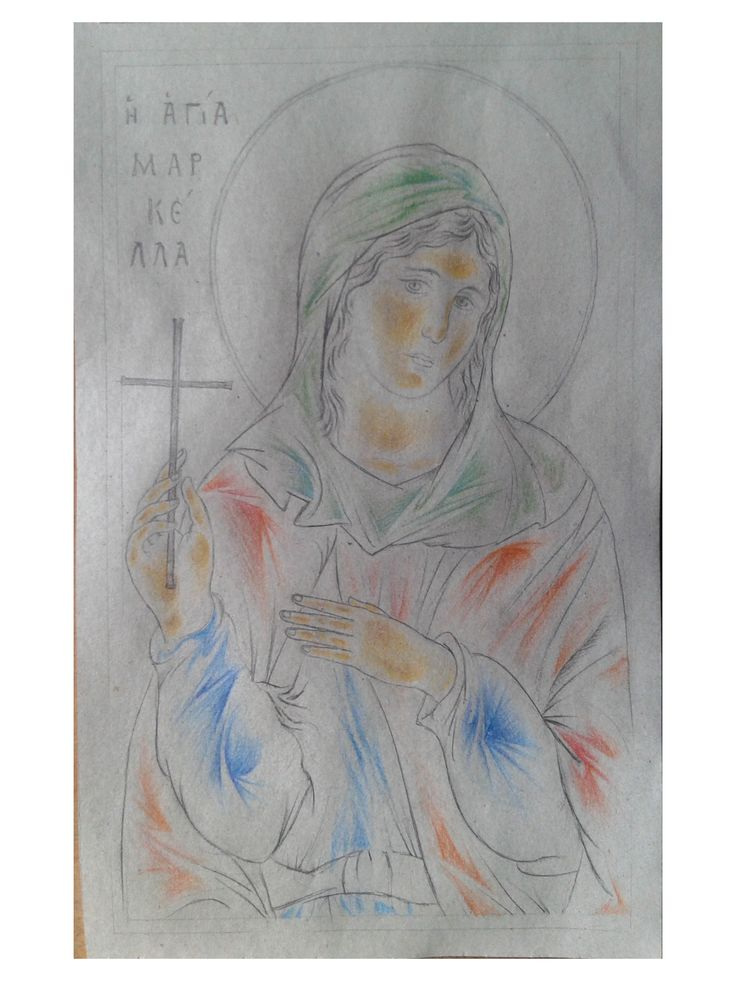 Drawing of Agia Markella, an icon of whom I am going to make.
