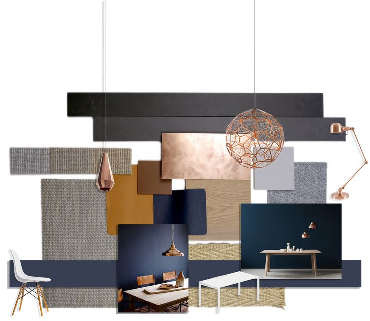 Refined and understated elegance. Material palette includes copper, grey oiled timber, dark blue wall paint, tan leather, light grey fabric, woven vinyl flooring and herringbone sisal carpet.