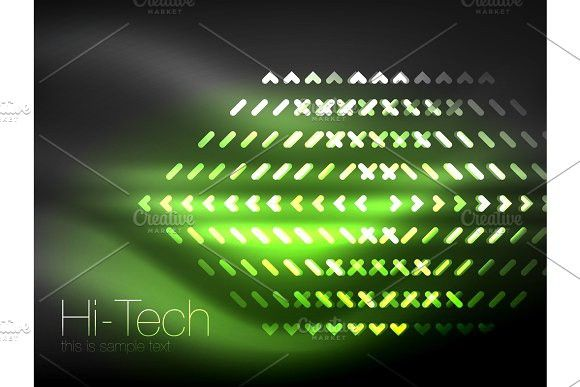 Futuristic neon lights on dark background, digital abstract techno backgrounds #background #vector