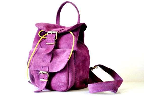 Suede Deep Purple Leather Backpack by TheSquareMoon on Etsy, €54.00