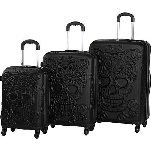 IT Luggage Skull Emboss 3 Pc Spinner Luggage Set Hardside Luggage NEW #ITLuggage