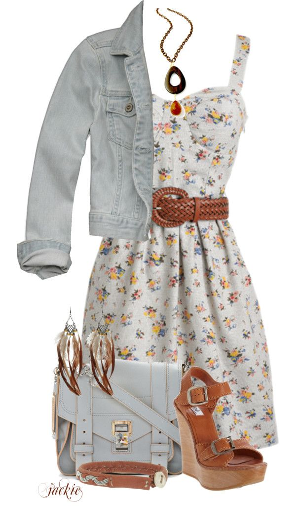 """Denim Jacket and Dress"" by jackie22 ❤ liked on Polyvore"