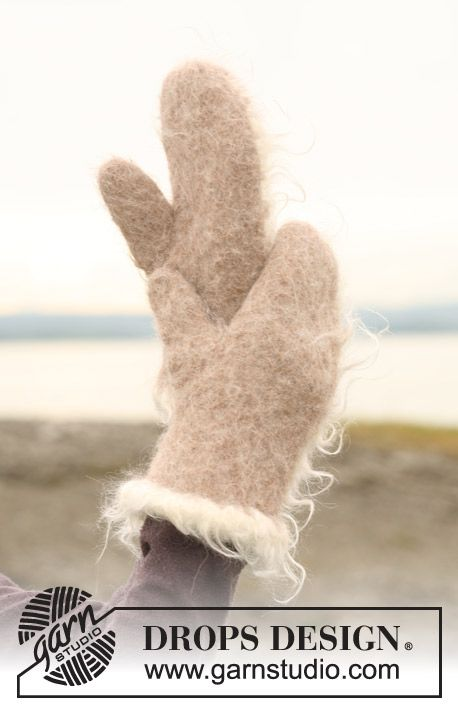 "Felted DROPS mittens in 2 threads ""Alpaca"" with crochet border in ""Puddel"". ~ DROPS Design"