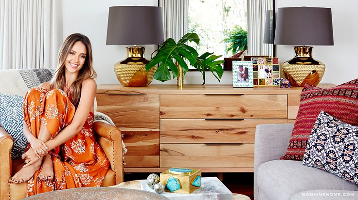 Before & After: Jessica Alba's Brilliant Bedroom Makeover// wood dresser, brass lamps, ethnic textiles, Kelly Wearstler bauble box