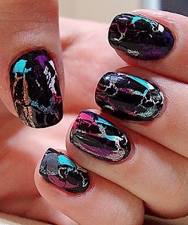 These look awesome. Different colors of crackle polish layered over black.