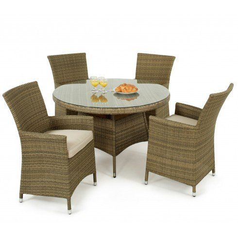 Sienne Rattan Garden Furniture 4 Seat Round Table Set