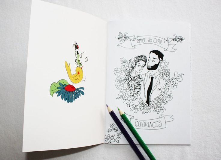 livret de coloriage mariage - cadeau invités enfants - papeterie personnalisée sur mesure - dessin de mariés à colorier