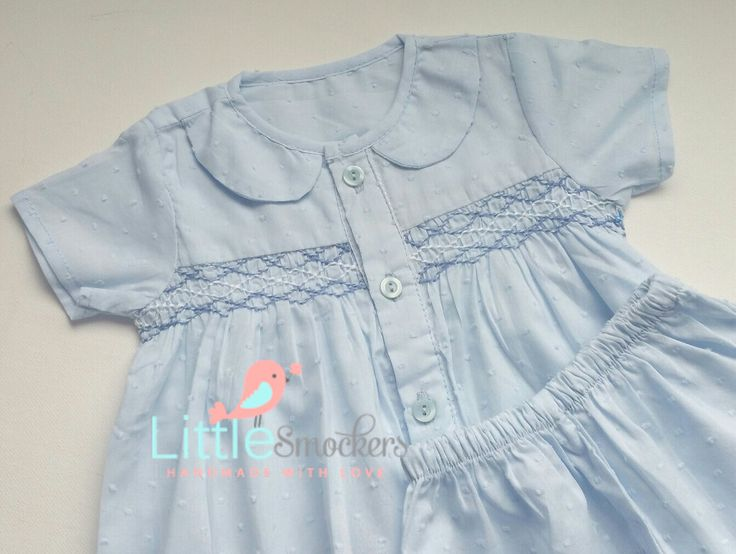 Hand Smocked Baby Boys Shirt & Shorts in baby blue by LittleSmock on Etsy