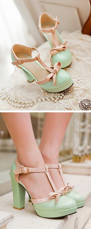Mint bow retro heels