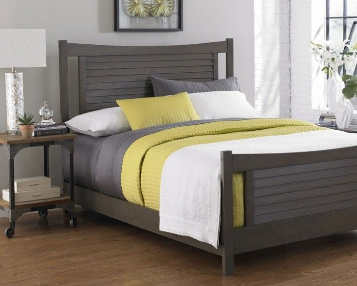 Elegant Black Color Scheme Drift Wood Bed Frames With Calm Gray Mattress That Have Green Bedding Complete With The Pillows Also Simple Rectangle Shaped Headboard Style Best Collections of the Driftwood Bed Frame Designs Furniture
