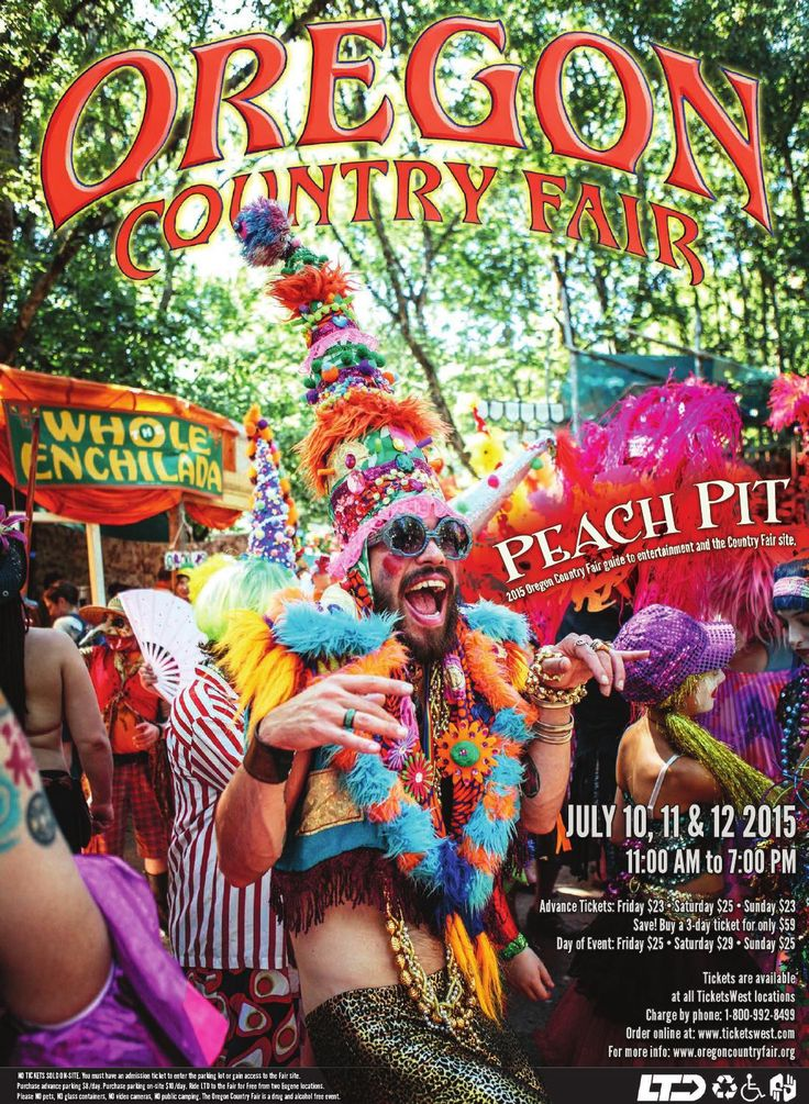 2015 Oregon Country Fair Peach Pit  2015 Oregon Country Fair Guide to Entertainment and the Country Fair Site.