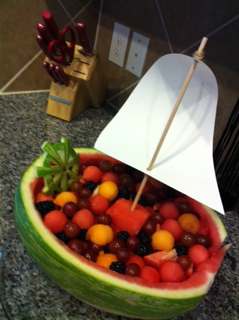 Watermelon sailboat for a nautical theme baby shower