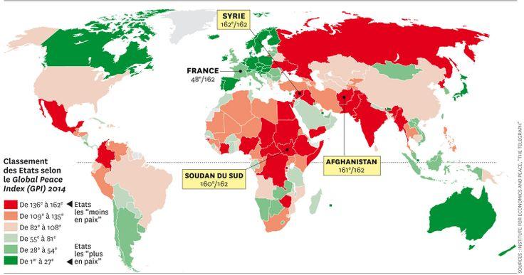 """Le Global Peace Index 2014 a été mis à jour juste avant la nouvelle flambée de violence en Irak. L'Islande est le pays """"le plus en paix"""" et la France pour sa part arrive en 48e position. http://economicsandpeace.org/research/iep-indices-data/global-peace-index"""
