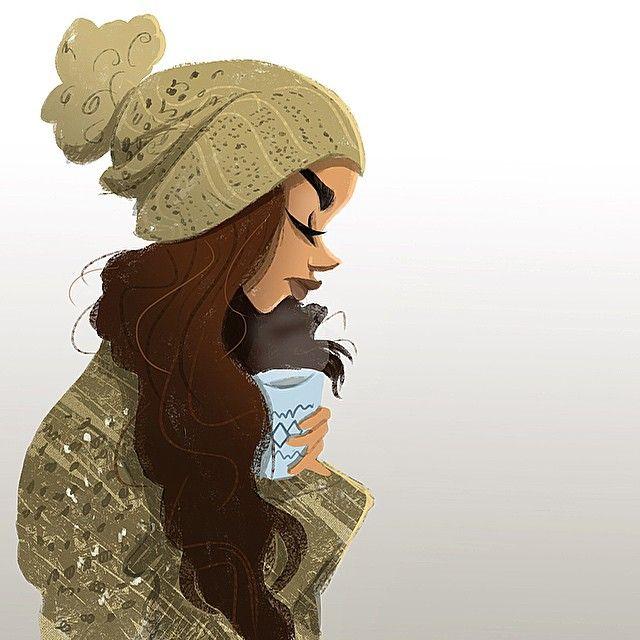 "#ShareIG ""Hot Cocoa"" illustration. #drawing #fashion #design #artist #art"