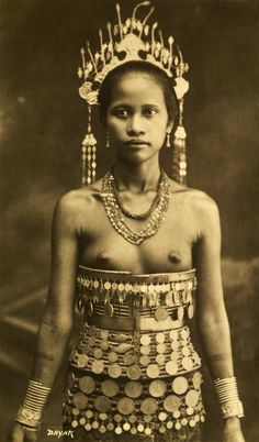 Dayak Girl of Borneo, Early 20th Century