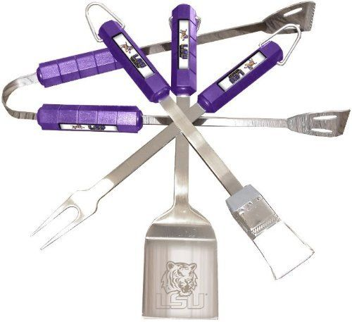 Louisiana State Tigers 4 Pc Bbq Set by BSI Products, Inc.. $94.48. Tailgating never looked so good! This stainless steel BBQ set is a perfect way of showing your team pride on Game Day. Each utensil is printed with your favorite College team's artwork. The set includes tongs, brush, fork and a laser etched spatula.. Save 57%!