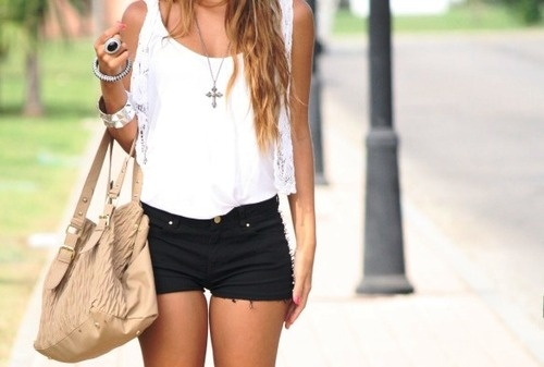 Outfit with black jean shorts