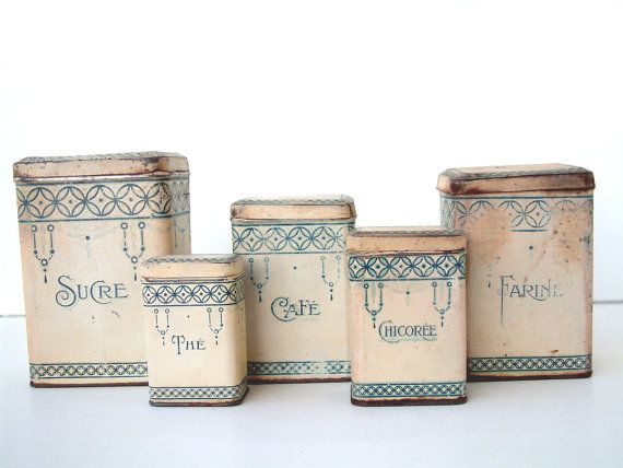 French Vintage Art Deco Cream And Blue Kitchen Canister Set Shabby Chic Country