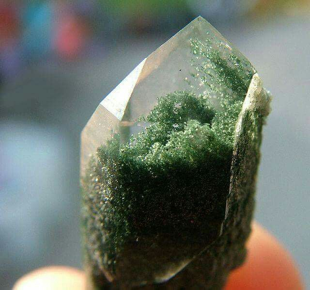 """Chlorite Quartz Chlorite appears in many shades and textures but is often green and mossy as pictured. It is universally beneficial and a powerful heart chakra stone with a special connection to the earth. """"Chlorite has been used with Amethyst to remove unwanted energy implants; the presence of chlorite and Amethyst within one's energy field has also successfully protected against both energy implants and psychic attack."""" Melody, Love is in the Earth. kacha-stones.com/Chlorite_Quartz.htm"""