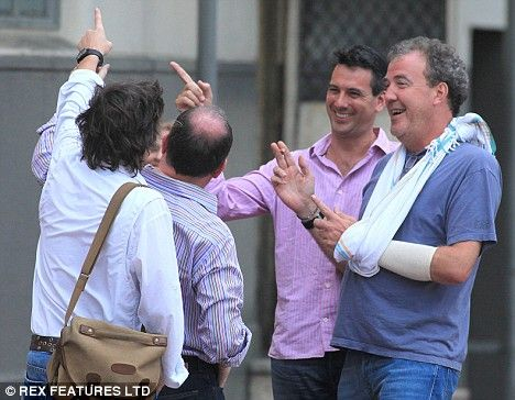 One-armed idiot? This'll make Gordon Brown smile... it's Jeremy Clarkson in a sling   Daily Mail Online
