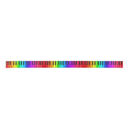 Rainbow Piano Keyboard Satin Ribbon