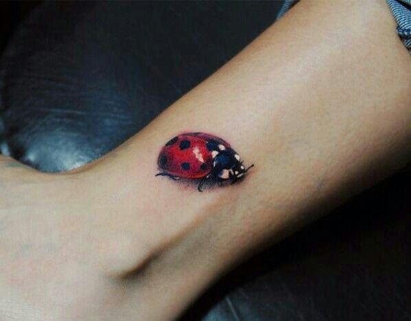 ladybug tattoo. my left ankle #ankle #ink #tattoo #signature #nickname #ladybug #3-d i love love love ladybugs