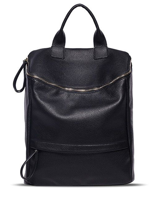 Double Zipper PU Leather Metal Backpack #men, #hats, #watches, #belts, #fashion