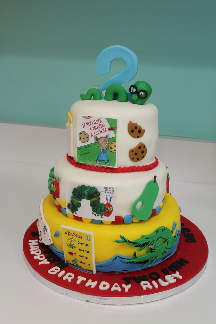 Bookworm birthday cake