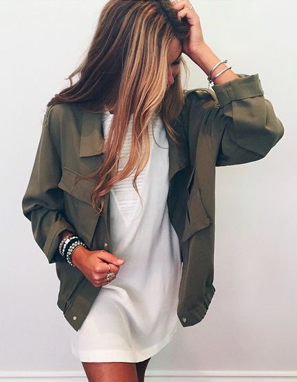 Army green jacket and shift dress. Top 20 street style ideas 2015.