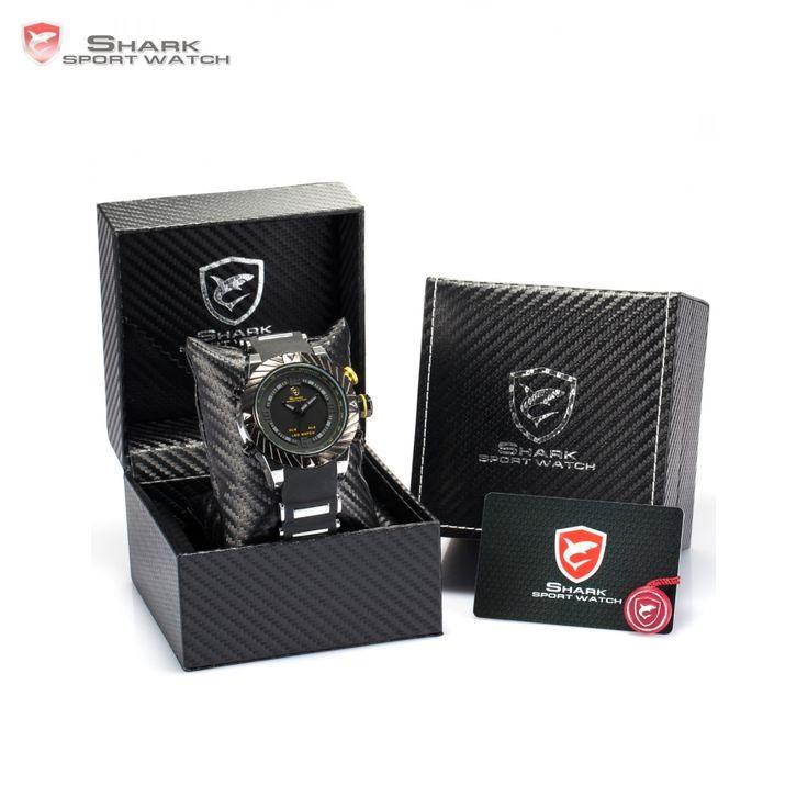 Luxury Leather Box Goblin Shark Sport Watch Men Relogio Silicone Band Dual Time LED Digital Army Quartz Wrist Watches /SH165-168