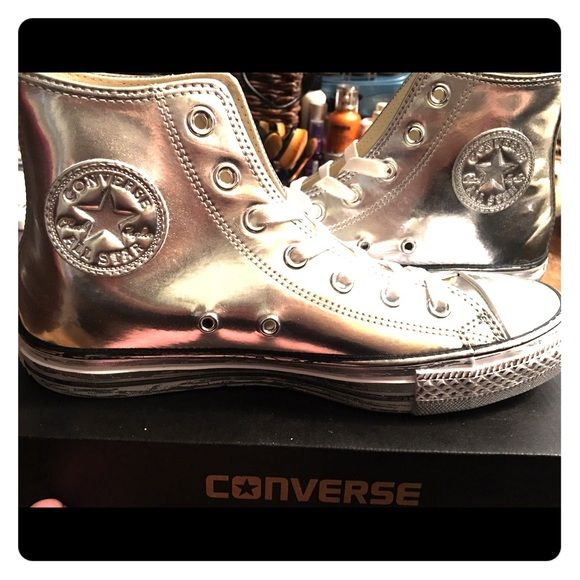 Chrome size 8 ladies Converse High Tops Chrome Leather Silver High Tops. Converse Shoes Sneakers
