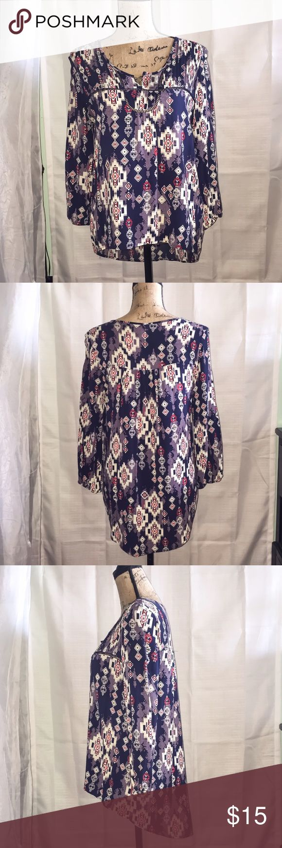 Tribal Blouse, Geometric Blouse This top is so comfy and flattering on! I am downsizing otherwise I would keep this. Looks great with skinnies and flats. It has been washed with care and only air-dried. I bought it oversized and normally wear a small/medium) Tops Blouses