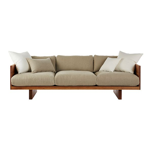 mark tuckey plinth sofa in oak with washed hemp