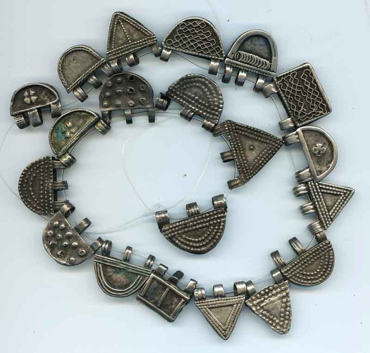 A small collection of differently patterned antique Telsum amulets, from the Oromo people, Ethiopia.