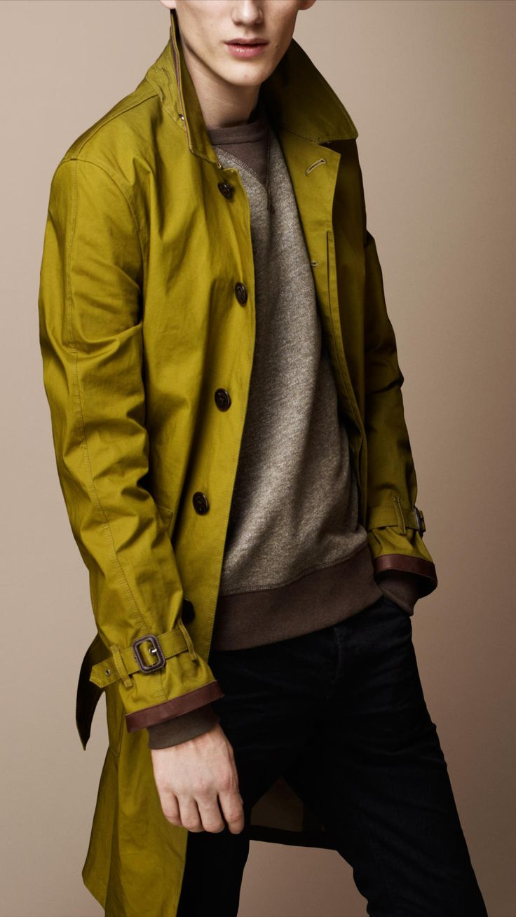 Burberry Long Bonded Cotton Leather Trim Trench Coat