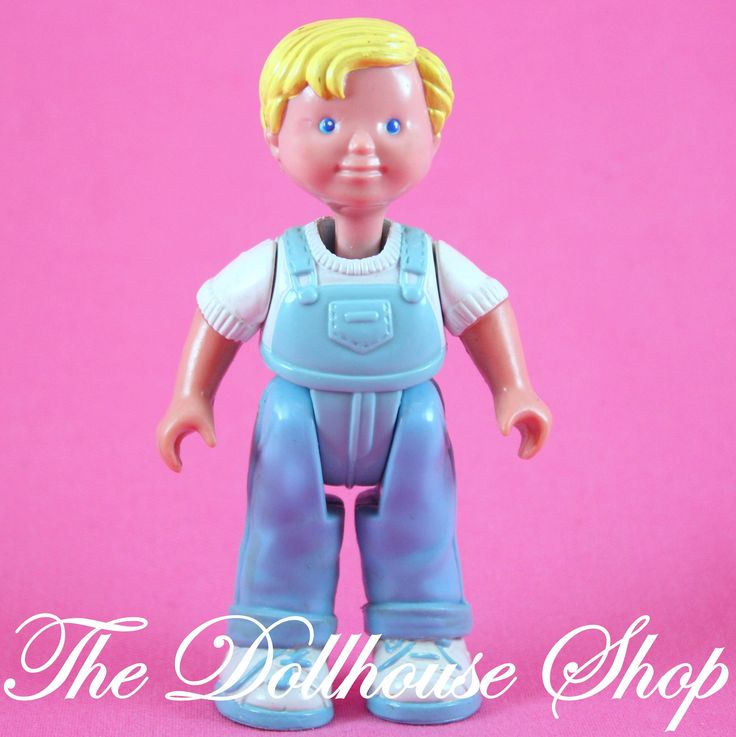 Fisher Price Loving Family Dream Dollhouse Blonde Boy Blue overalls Doll People