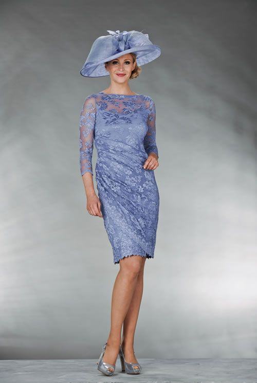 Mother Of The Bride / Groom Outfit: Violet lace dress with sheer sleeves