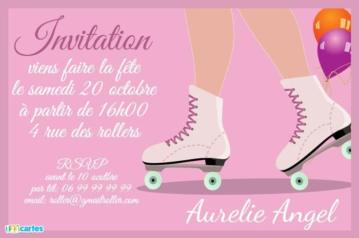 Invitation anniversaire pink roller quad à personnaliser en ligne gratuitement et à imprimer chez soi. 123cartes Invitations et cartes anniversaire gratuites.