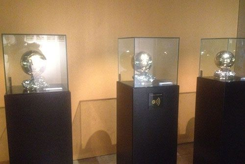 Leo Messi's 3 Ballons d'or in the FC Barcelona museum #fcbarcelona #campnou #tour #museum
