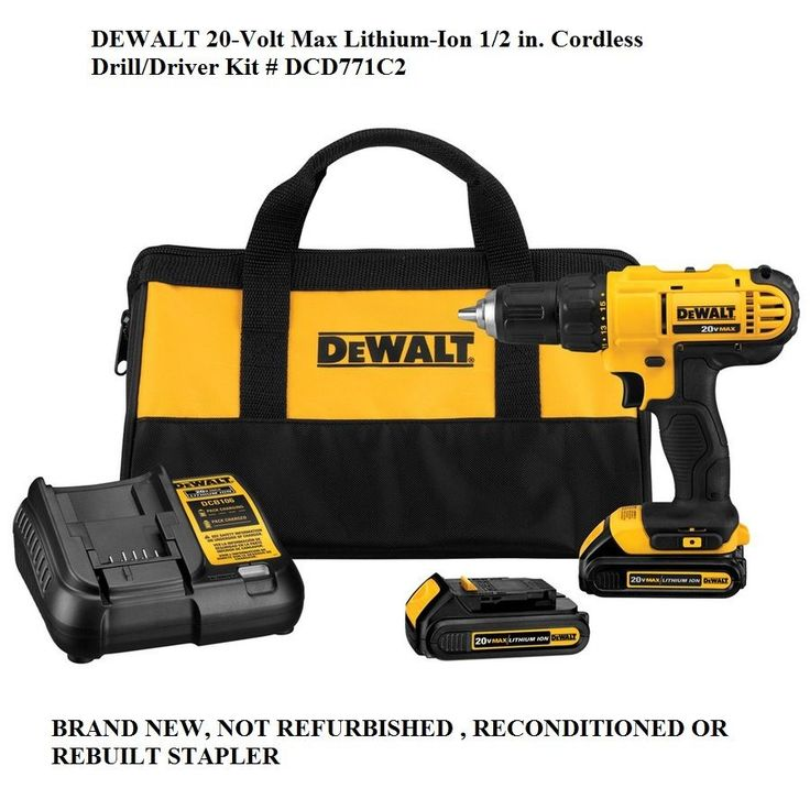 Cordless Drills 71302: New Dewalt 20-Volt Max Lithium-Ion 1 2 In. Cordless Drill Driver Kit # Dcd771c2 -> BUY IT NOW ONLY: $79.99 on eBay!