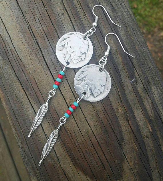 Coin earrings Buffalo coin earrings Native by EandSJewelryDesigns