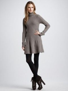 100% Cashmere Turtleneck Ribbing Dress