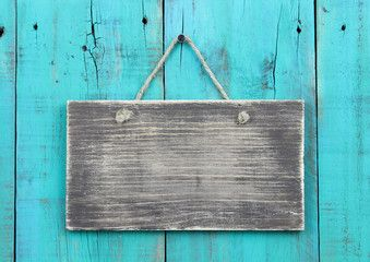 Blank Wood Sign On Teal Blue Wooden Background Fondo