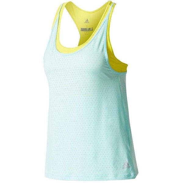 Arrive on court in the eye-catching Adidas Women's Advantage Strappy Tennis Tank in Energy Aqua. The tank itself keeps to a solid Energy Aqua color, while the attached bra adds contrast with its bright yellow color. The attached bra has removable pads and an adjuster on the side so that it will fit comfortably with varying cup sizes. There is a slit on the back that creates a narrow opening that increases ventilation.
