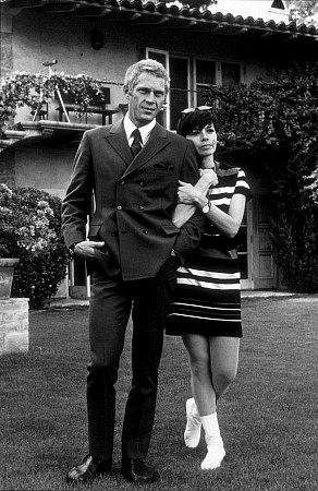 Recently, the Parka Avenue blog ran a post on double-breasted suits, so in honor of that, here's a snappy shot of Steve McQueen, rockin' the DB with his wife, Neile Adams: