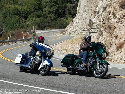 ▶ 2015 Harley Street Glide vs Indian Chieftain Part 1 - MotoUSA - YouTube