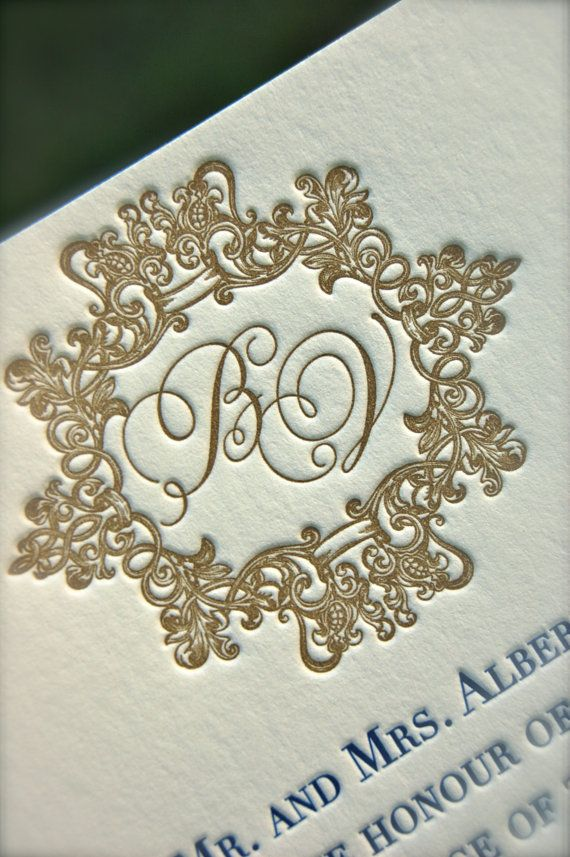 letterpress wedding invites london%0A Letterpress Navy and Gold Wedding Invitation by DancingPenandPress
