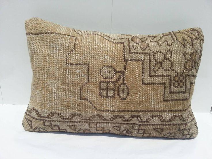 Vintage Kilim Pillow Lumbar, Handwoven Decorative Turkish Kilim Pillow Lumbar 16x24 inches, 40x60 cm by Simavrug on Etsy