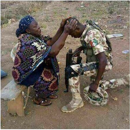 News in Pictures: Mother Gives  Her Blessing To Son As He Returns To Northeast to Fight Boko Haram