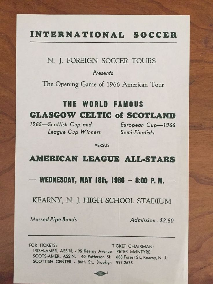 1966 CELTIC - ASL ALL-STARS ADVERTISING FLYER FROM NEW JERSEY MATCH | eBay